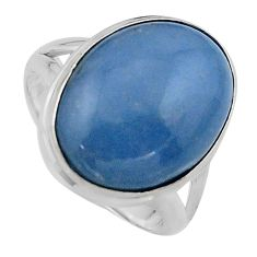 13.69cts natural blue angelite 925 silver solitaire ring jewelry size 7.5 p95362