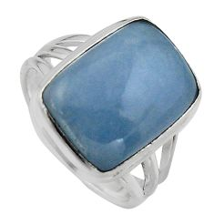 925 silver 10.70cts natural blue angelite solitaire ring jewelry size 8 p95364