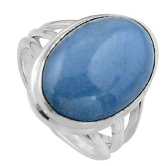 10.69cts natural blue angelite 925 silver solitaire ring jewelry size 7.5 p95365