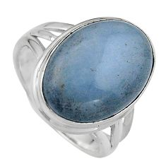 12.64cts natural blue angelite 925 silver solitaire ring jewelry size 8 p95366