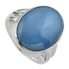 13.28cts natural blue angelite 925 silver solitaire ring jewelry size 7.5 p95368