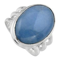925 silver 13.79cts natural blue angelite solitaire ring jewelry size 7 p95369