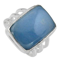14.21cts natural blue angelite 925 silver solitaire ring jewelry size 8 p95370