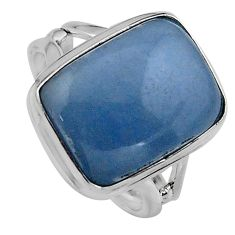 10.25cts natural blue angelite 925 silver solitaire ring jewelry size 7.5 p95372