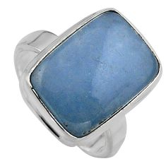 12.07cts natural blue angelite 925 silver solitaire ring jewelry size 7.5 p95373