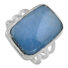15.33cts natural blue angelite 925 silver solitaire ring jewelry size 8 p95374