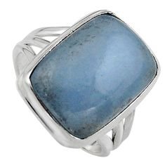 925 silver 14.61cts natural blue angelite solitaire ring jewelry size 8.5 p95375