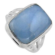13.34cts natural blue angelite 925 silver solitaire ring jewelry size 8.5 p95376