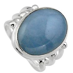 13.36cts natural blue angelite 925 silver solitaire ring jewelry size 6.5 p95377