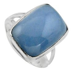 10.64cts natural blue angelite 925 silver solitaire ring jewelry size 7 p95378