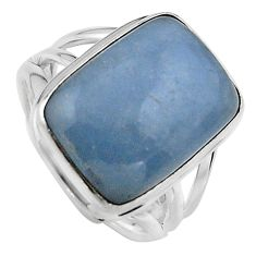 925 silver 10.34cts natural blue angelite solitaire ring jewelry size 7 p95379