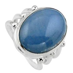 13.84cts natural blue angelite 925 silver solitaire ring jewelry size 7 p95380