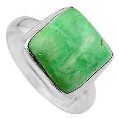 9.54cts natural green variscite 925 silver solitaire ring jewelry size 7 p95381