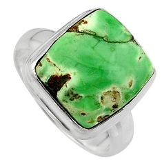 6.54cts natural green variscite 925 silver solitaire ring size 6.5 p95385