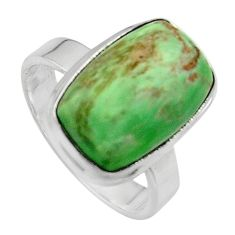 5.87cts natural green variscite 925 silver solitaire ring size 6.5 p95388