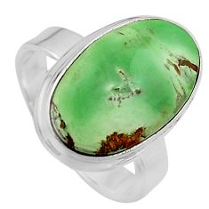 7.30cts natural green variscite 925 silver solitaire ring size 6.5 p95389