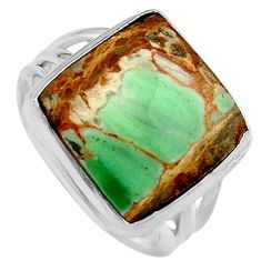 925 silver 9.65cts natural green variscite solitaire ring size 7.5 p95390