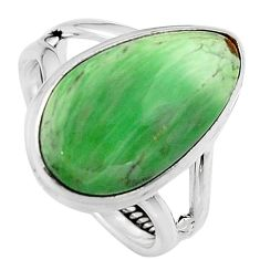 8.77cts natural green variscite 925 silver solitaire ring size 6.5 p95391