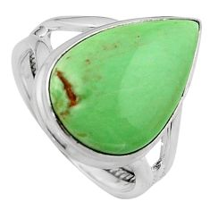 10.82cts natural green variscite 925 silver solitaire ring jewelry size 7 p95393