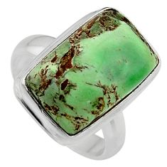 9.04cts natural green variscite 925 silver solitaire ring size 6.5 p95397