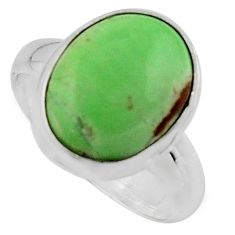 5.87cts natural green variscite 925 silver solitaire ring size 6.5 p95399