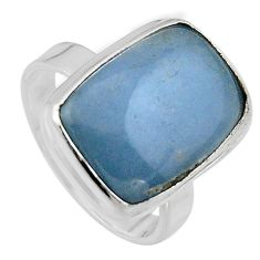 12.07cts natural blue angelite 925 silver solitaire ring jewelry size 8 p95401