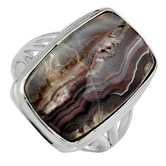 925 silver natural mexican laguna lace agate solitaire ring size 8.5 p95425