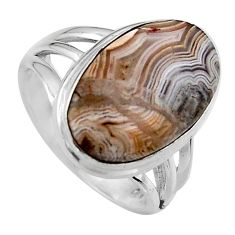11.66cts natural mexican laguna lace agate silver solitaire ring size 7 p95430