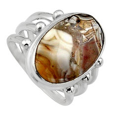 10.37cts natural mexican laguna lace agate silver solitaire ring size 7 p95439