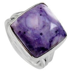 14.12cts natural purple tiffany stone 925 silver solitaire ring size 8.5 p95441