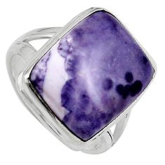 14.84cts natural purple tiffany stone 925 silver solitaire ring size 9 p95442