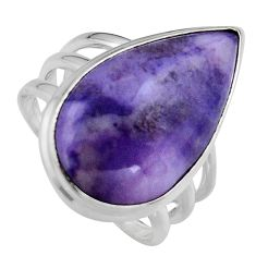 15.97cts natural purple tiffany stone 925 silver solitaire ring size 8.5 p95443