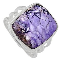 925 silver 14.41cts natural purple tiffany stone solitaire ring size 8.5 p95454