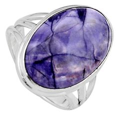 14.41cts natural purple tiffany stone 925 silver solitaire ring size 8 p95455