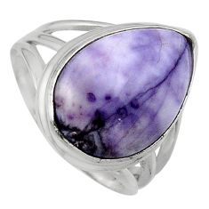 11.89cts natural purple tiffany stone 925 silver solitaire ring size 7.5 p95458