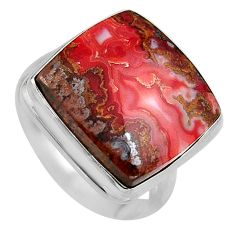 15.33cts natural moroccan seam agate 925 silver solitaire ring size 9 p95486