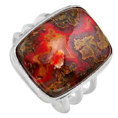 16.46cts natural moroccan seam agate 925 silver solitaire ring size 8.5 p95490
