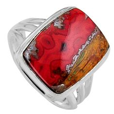 11.03cts natural brown moroccan seam agate silver solitaire ring size 7 p95496