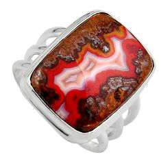 925 silver 15.76cts natural moroccan seam agate solitaire ring size 8 p95499