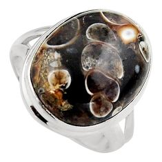 Natural turritella fossil snail agate 925 silver solitaire ring size 8.5 p95521