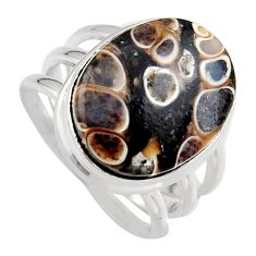 Natural turritella fossil snail agate silver solitaire ring size 8 p95522