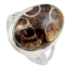 14.12cts natural brown turritella fossil snail agate silver ring size 7 p95524