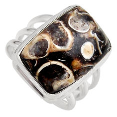 925 silver 14.04cts natural turritella fossil snail agate ring size 8 p95525