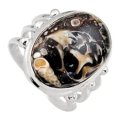 14.61cts natural turritella fossil snail agate 925 silver ring size 7.5 p95526