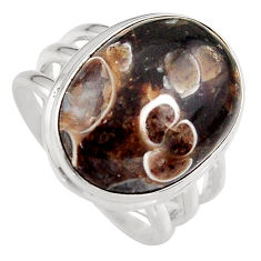 14.39cts natural brown turritella fossil snail agate silver ring size 8 p95529