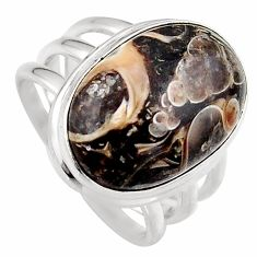 14.08cts natural brown turritella fossil snail agate silver ring size 7.5 p95533