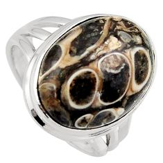 925 silver 14.41cts natural turritella fossil snail agate ring size 7.5 p95535