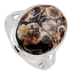 12.83cts natural brown turritella fossil snail agate silver ring size 8 p95536