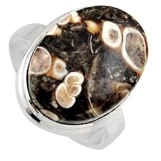 13.28cts natural brown turritella fossil snail agate silver ring size 8 p95537