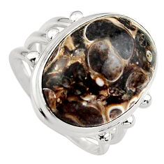 13.84cts natural brown turritella fossil snail agate silver ring size 8 p95538
